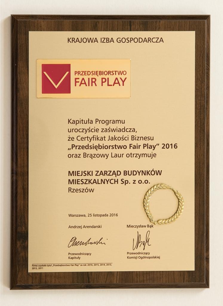 """Brązowy Laur """"Fair Play"""" 2016"""