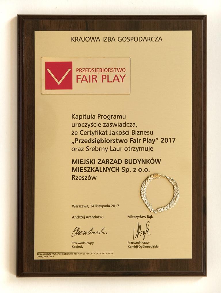 """Srebrny Laur """"Fair Play"""" 2017"""