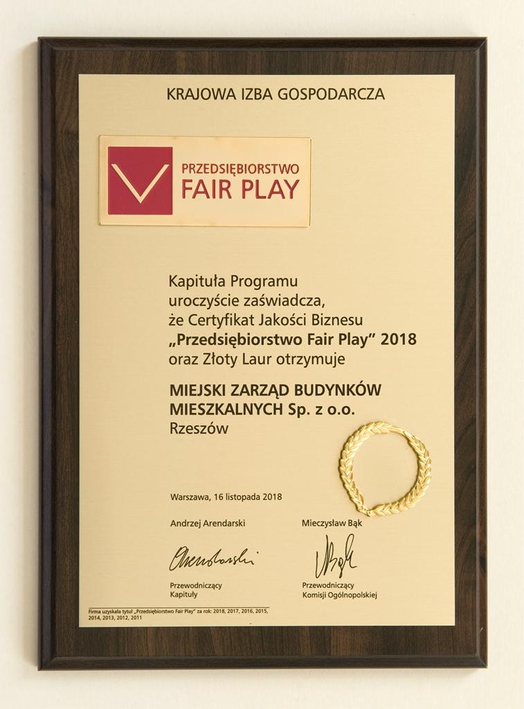 """Złoty Laur """"Fair Play"""" 2018"""